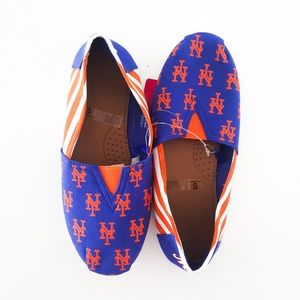 New York Mets Striped Canvas Flat Shoes Blue S 5/6